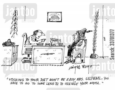 mrs gelfman cartoon humor: 'Sticking to your diet won't be easy, Mrs. Gelfman...You have to go to some length to change your width.'