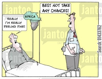 african aid cartoon humor: I'm really REALLY fine... Best not take any chances