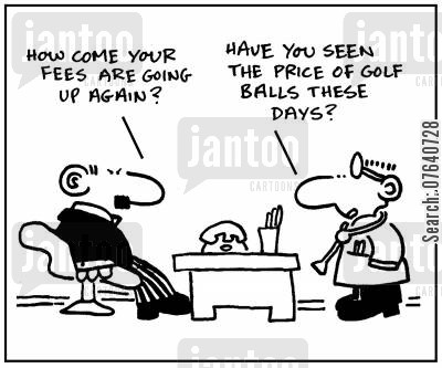 medical expense cartoon humor: 'How come your fees are going up again?' - 'Have you seen the price of golf balls these days?'