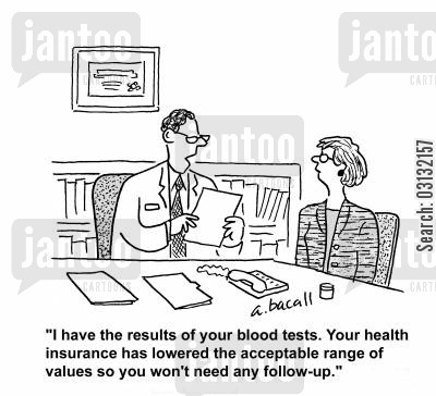 blood tests cartoon humor: Your health insurance has lowered the acceptable range of values so you won't need any follow-up.