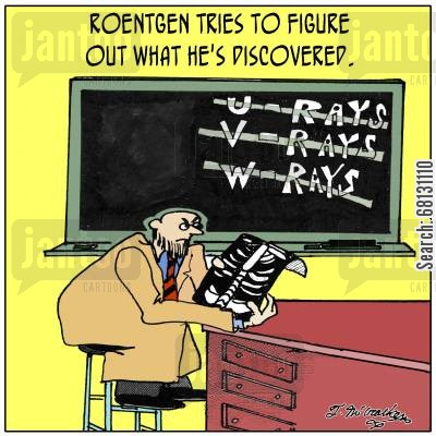 medical discoveries cartoon humor: Roentgen tries to figure out what he's discovered.