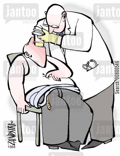choking cartoon humor: Medical Check.