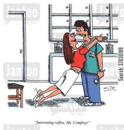 reflex cartoon humor: 'Interesting reflex, Ms Comfrey'