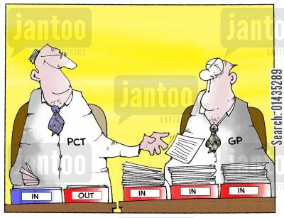 primary care trust cartoon humor: PCT passing work to GPs
