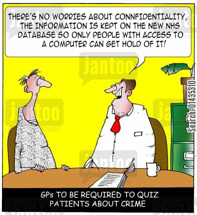 nhs databases cartoon humor: GPs to be required to ask patients about crime