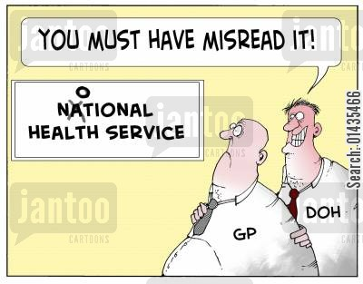 privatisation cartoon humor: The NOTIONAL Health service: 'You must have misread it.'