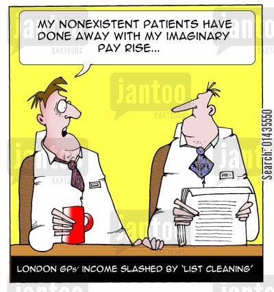 pay cut cartoon humor: London GPs income slashed by 'list cleaning'.
