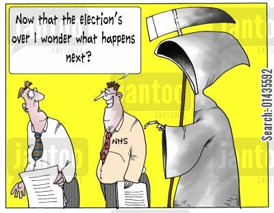liberal democrats cartoon humor: 'Now that the elections over, I wonder what happens next.'