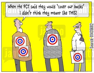 primarycare trust cartoon humor: 'When the PCT said they would 'cover our backs' I didn't think they meant like this.'