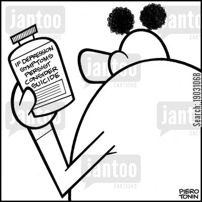 farmacy cartoon humor: Medication label reads: 'If depression symptoms persist consider suicide'