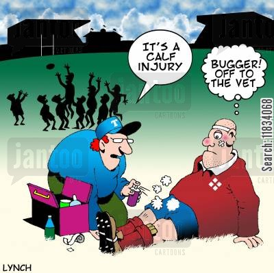 rugby world cup cartoon humor: 'It's a calf injury.'