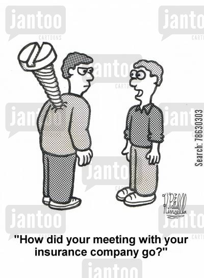 medical cost cartoon humor: 'How did your meeting with your insurance company go?'