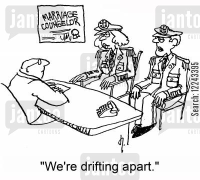 sea captains cartoon humor: 'We're drifting apart.'