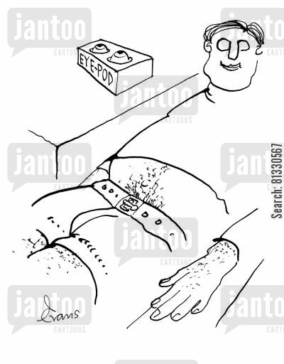 mp3 players cartoon humor: Man with no eyes is resting next to his 'eye pod', which contains his eyes.