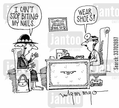 bare footed cartoon humor: 'I can't stop biting my nails' 'Wear shoes!'