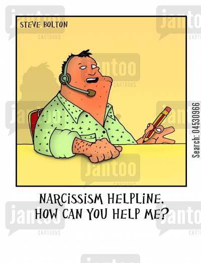 narcissist cartoon humor: 'Narcissism Helpline. How can you help me?'
