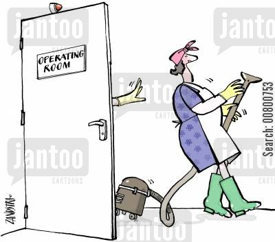 operating theatres cartoon humor: Surgeon pushing cleaning lady out of operating room.