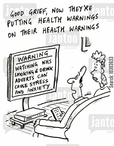 health adverts cartoon humor: 'Good grief! Now they are putting health warnings on their health warnings!'
