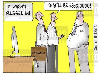 nhs databases cartoon humor: 'It wasn't plugged in...that'll be £350,0000!'