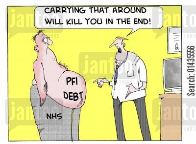 pfi cartoon humor: 'Carrying that around will kill you in the end.'