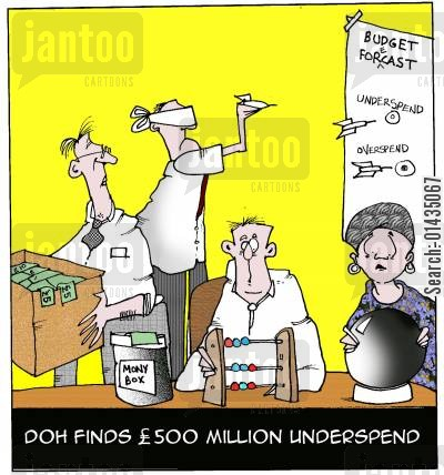 health spending cartoon humor: Managing the NHS budget
