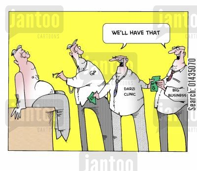 darzi cartoon humor: NHS privatisation: 'We'll have that.'