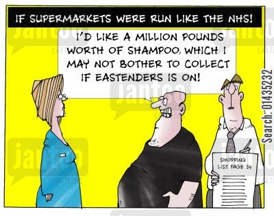 nhs privatisation cartoon humor: If Supermarkets Were Run Like The NHS!