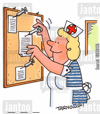 bulletin board cartoon humor: A nurse uses syringes on notice board.