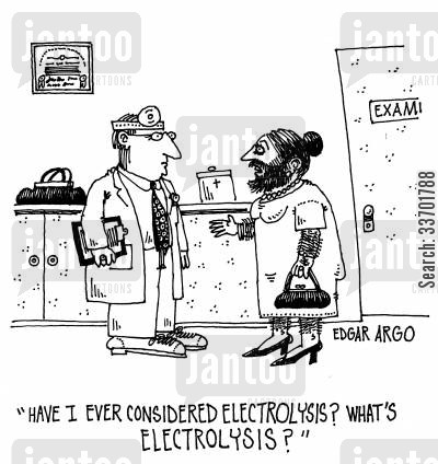 electrolysis cartoon humor: 'Have I ever considered electrolysis? What's electrolysis?'
