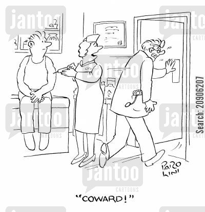 innoculation cartoon humor: 'Coward!'