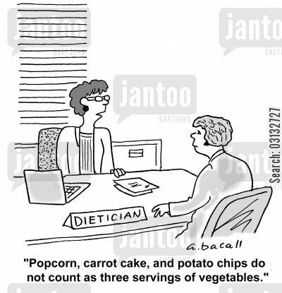 carrot cake cartoon humor: 'Popcorn, carrot cake, and potato chips do not count as three servings of vegetables.'