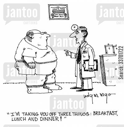 head mirror cartoon humor: 'I'm taking you off three things: breakfast, lunch and dinner!'
