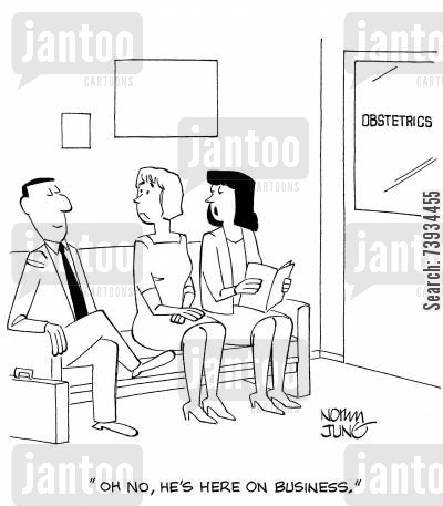 salesperson cartoon humor: 'Oh no, he's here on business.'