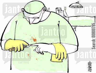 operating table cartoon humor: Surgeon picking nails with a scalpel.