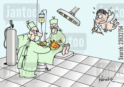 bow and arrows cartoon humor: Cupid shoots a heart during surgery.