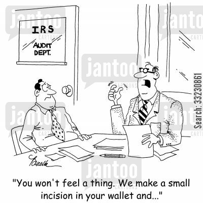 financesy cartoon humor: 'You won't feel a thing. We make a small incision in your wallet and...'