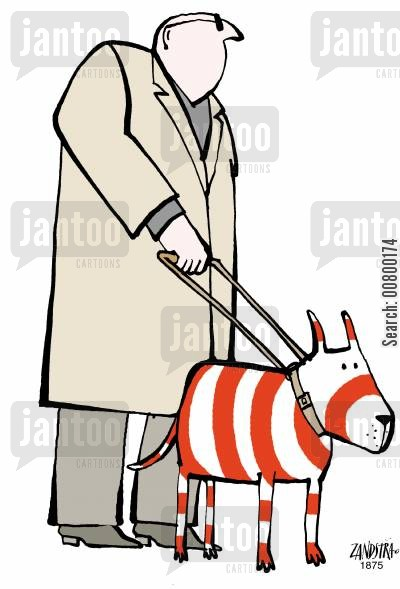 partially sighted cartoon humor: Blind man with a red and white striped guide dog.