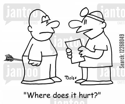 archery wounds cartoon humor: 'Where does it hurt'