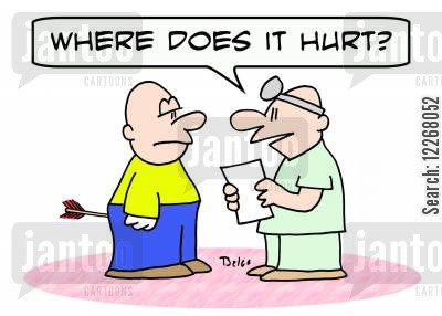 archery wounds cartoon humor: 'Where does it hurt?'