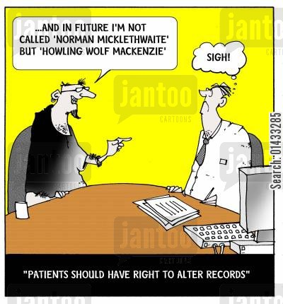 record keeping cartoon humor: ...and in future I'm not called 'Norman Micklethwaite' but 'Howling Wolf Mackenzie'.