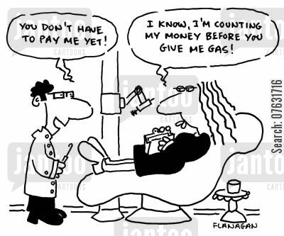 counting money cartoon humor: You don't have to pay me yet! I know, I'm counting my money before you give me gas!