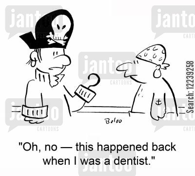 pegs cartoon humor: 'Oh, no -- this happened back when I was a dentist.'