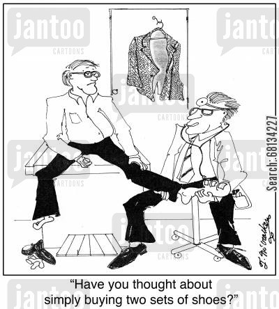 foot size cartoon humor: 'Have you thought about simply buying two sets of shoes?'