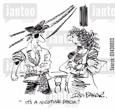 damsel cartoon humor: 'It's a nicotine patch.'