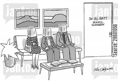 masks cartoon humor: Plastic surgeon's waiting room.
