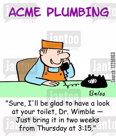 blocked toilet cartoon humor: 'Sure, I'll be glad to have a look at your toilet, Dr. Wimble -- Just bring it in two weeks from Thursday at 3:15.'