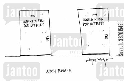 foot specialist cartoon humor: Arch Rivals.
