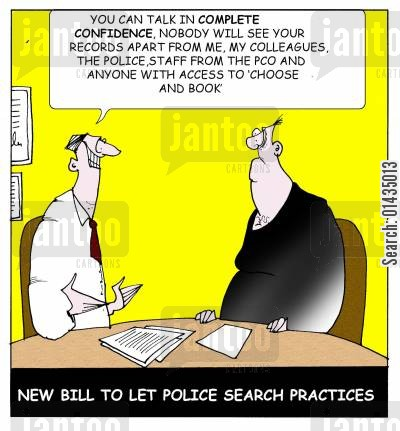 police investigations cartoon humor: New Bill to Let Police Search Practises.