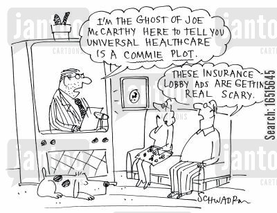 free health services cartoon humor: 'I'm the ghost of Joe McCarthy...'