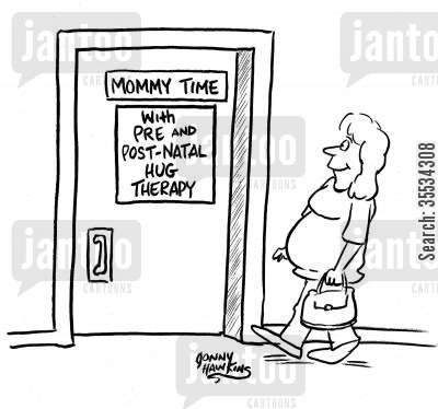 pre-natal care cartoon humor: Pregnant woman enters door marked: 'Mommy Time ... With Pre and Post-Natal Hug Therapy'